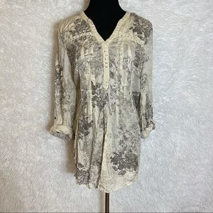 Vintage American Blues Woman's Floral V-neck Tunic